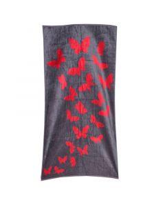 فوطة شاطئ 100 × 180 - رمادية مع فراشات حمراء