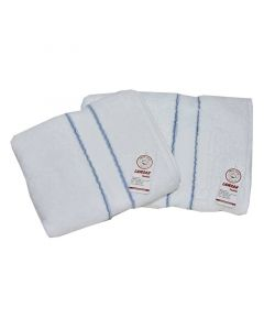 Two-piece towel set - White with blue line