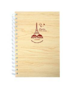 مذكرة ملاحظات خشبية صغيرة برسمة برج إيفل