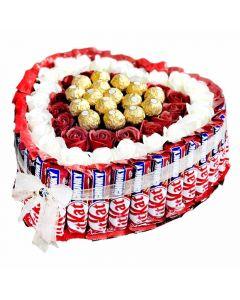 قلب الورود الصناعية المغلفة بقطع الشوكولاتة
