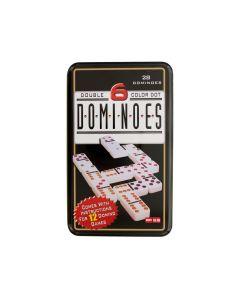 مجموعة لعبة الدومينو ذات 6 ألوان مزدوجة - 28 دومينو