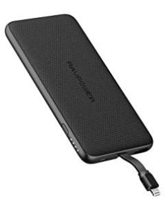 RAVPower Blade Series Slim Portable Power Bank 10000mAh with Built-In Lightning Cable